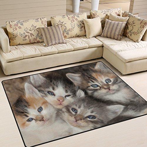 Use7 Teppich, Katzenmotiv mit blauen Augen, für Wohnzimmer, Schlafzimmer, Textil, mehrfarbig, 160cm x 122cm(5.3 x 4 feet)