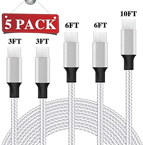 top 10 five of the htc phones USB Type-C cable, 5 packs (3/3/6/6/10 feet), braided nylon fast charging cable, aluminum housing …