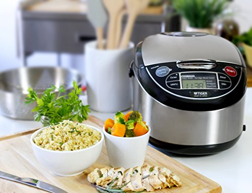 Tiger JAX-T10U-K 5.5-Cup (Uncooked) Micom Rice Cooker with Food Steamer & Slow Cooker, Stainless Steel Black