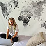 Watercolor World Map Tapestry decor