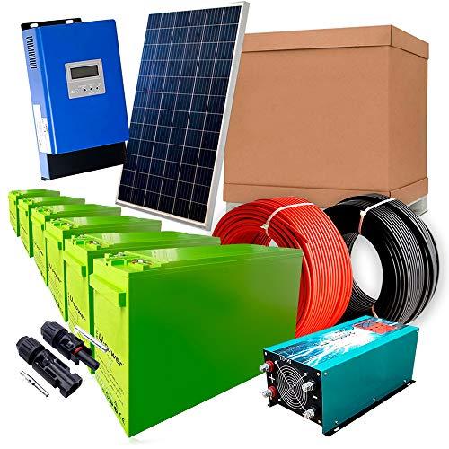 Solar-Kit 12 V 1.800 W / 9.000 W Tag + 12 Panels + Laderegler MPPT 60 A + 6 AGM TFS-250 AH + Wechselrichter 5000 W reine Welle mit Ladegerät 80 A
