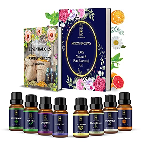 Edens Robwa Coffret Huiles Essentielles Bio - 8 x 10 ml   Diffuseur, bougie, maison   Lavande, menthe poivrée, arbre à thé, citronnelle, orange douce, eucalyptus + 2 synergies   Idée cadeau.