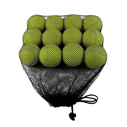 ZZM Tenniskugeln für Hunde Sport Spielen Cricket Dog Toy Ball mit Mesh-Tragetasche Tägliches Training Spielen Hundetraining Holen Sie Sich robusten Hund Bouncy Balls für Welpen 12 Stück