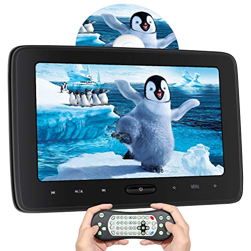 10.1 Inch Car DVD Player with Headrest Mount for Kids, DVD Player for Car with Remote Control, Games Disc,Inhalation Drive, Support HDMI in,Sync Screen, AV in /Out, Last Memory, CD/DVD/SD Card/USB