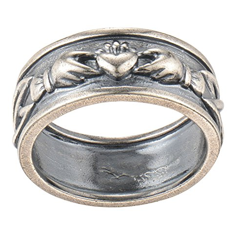 Oxidized 925 Sterling Silver Infinity Braided Celtic Claddagh Wide Band Style Wedding or Promise Ring