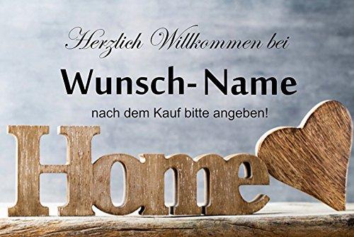 Crealuxe Fussmatte Home herzlich Willkommen mit Wunschname (nach dem Kauf angeben) - Fussmatte Bedruckt Türmatte Innenmatte Schmutzmatte lustige Motivfussmatte