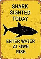 なまけ者雑貨屋 Shark Sighted Today Enter Water at Own Risk ガレージ サインボード ビンテージ カフェ インテリア 看板 メタルプレート ヴィンテージ風 レトロ
