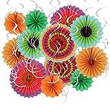 TAECOOOL 24 abanicos de papel colgantes de colores para colgar, abanicos de papel colgantes y borlas, guirnalda de papel para bodas, fiestas de cumpleaños, decoración (multicolor)