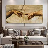 La creación de Adán por Miguel Ángel Arte famoso Arte de la pared Pinturas en lienzo Carteles e impresiones Imágenes artísticas Mano a mano 30 * 60 cm Sin marco