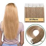 12'(30cm) Extensiones Adhesivas de Cabello Natural sin Clip #27 Rubio Oscuro Pelo Humano 100% Remy Invisble Tape in Hair Extensions 20 Unidades (40g)