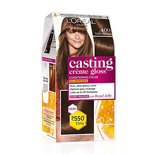 L'Oreal Paris Casting Creme Gloss Hair Color, Dark Brown 400, 87.5g+72ml