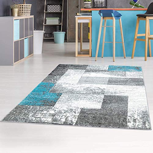 carpet city Teppich Flachflor Moda Meliert Modern mit Geometrischen Muster Blau Grau für Wohnzimmer, Größe: 160x225 cm