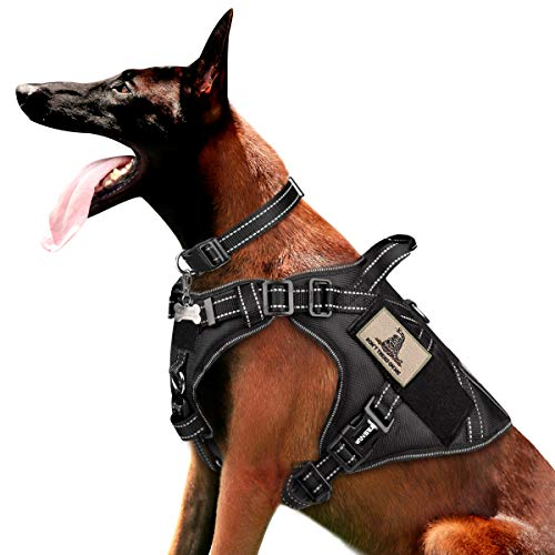 WINSEE Tactical Dog Harness for Large Dogs, Working Dog MOLLE Vest with Handle and Loop Panels, No Pull Front Clip Adjustable Reflective Training Pet Harness for Hiking Hunting