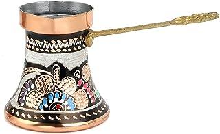 3.2 Oz Turkish Greek Arabic Coffee Pot Copper Stovetop Coffee Pot With Brass Handle -Cezve Ibrik Ibrik Hammered Engraved S...
