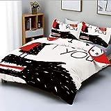 DuConjunto de funda de veterinario, Caperucita Roja ama a los lobos horribles Parcela Twist Fairytale ArtDecorative Juego de cama de 3 piezas con 2 fundas de almohada, Rojo Negro Blanco, El mejor rega