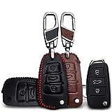 MISDHLeder Autoschlüsseletui, Für Audi A1 A2 A3 A4 A5 A6 A7 TT Q3 Q5 Q7 R8 S6 S7 S8 SQ5, 3-Tasten-Schlüsselanhänger Schlüsselanhänger Schlüsselring