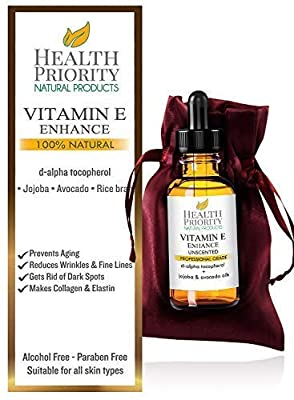 100% Natural & Organic Vitamin E Oil For Your Face & Skin - 15000 IU - Reduces Wrinkles & Lightens Dark Spots. Mixed With Jojoba, Avocado & Rice Bran Oils. Liquid D Alpha Tocopherol Serum. No Soy.