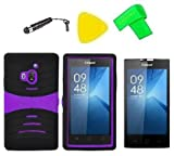 Hybrid w Kickstand Cover Case Phone Accessory + Screen Protector + Extreme Band + Stylus Pen + Pry Tool for Coolpad Rogue 3320 3320A (S-Hybrid Black Purple)