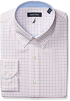 Nautica Men's Tattersal Buttondown Collar Dress Shirt