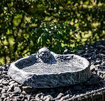 Abreuvoir à oiseaux avec hérisson, gris ardoise, pierre reconstituée