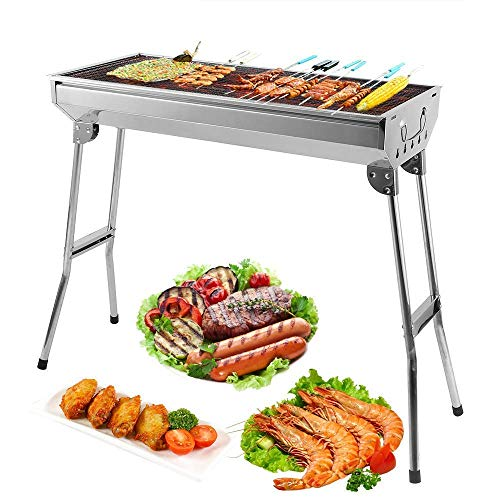 BBQ Grill, Stainless Steel Barbecue Grill Smoker Charcoal BBQ, Folding Portable BBQ for 5-10 Persons Family Garden Outdoor Cooking Hiking Picnics Camping Barbecue Party