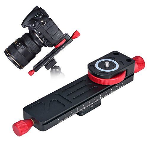 CAVIX All Metal Wormdrive Macro Focusing Focus Rail Slider/Close-up Shooting Clamp Plate 115mm Adjust w 1/4' Screw &3/8' thread for DSLR Camera Tripod Ballhead, Compatible w Arca RRS Lever Clamp W-160