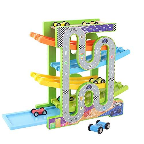 Coches, coches de carreras Juego niños Aparcamiento garaje pista de coches for niños pequeños juguetes for Boy regalos con las rampas de madera de coches de carreras de coches Coche de madera Juego de