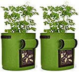 Grow Bags 2 Pack 7Gallons Potato Planter Bag, Strong Planted Barrels with Access...