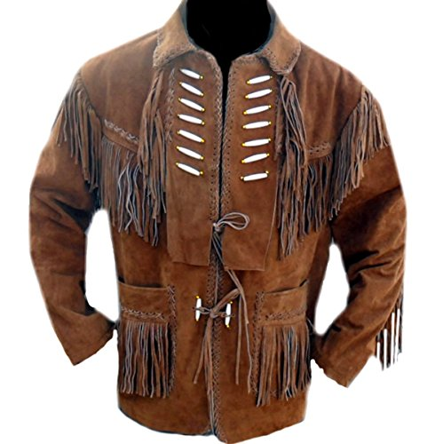 Classyak Western Leather Jacket Fringed & Bones, A Grade Suede Leather, Xs-5xl (5X-Large) Brown