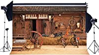 HD Vinyl Wild West Old Small Barn Backdrop 10x7ft West Cowboy Backdrops Straw Haystack Farm Tools Ancient Bicycles Horseshoe Autumn Photography Background for Men Party Photo Studio Props 16