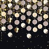 Guirnalda de Papel, Fiesta Decoración de Redonda Colgante papel Banner para Cumpleaños Boda Bienvenida al Bebé, 4 Paquetes (Champagne Oro)