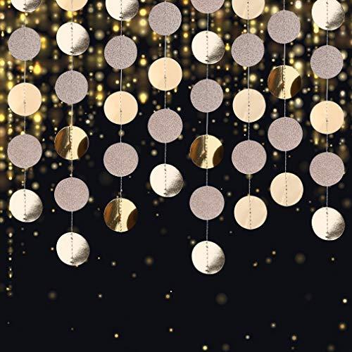 Ghirlanda di Carta Decorazione Scintillante Rotondo Striscione da Appendere Ghirlande per Matrimonio Compleanno Natale Festa, 4 Pezzi x 4m (Champagne Oro)