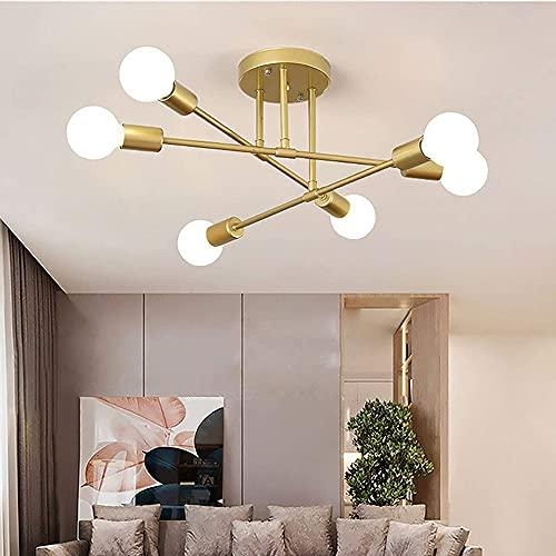 Lampadario da Soffitto Vintage, 6 Bracci Plafoniera LED Soffitto Moderna, Lampada da Soffitto 6 Luci...