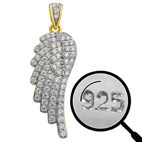Harlembling Solid 925 Sterling Silver - 14k Gold Plated - Men's Ladies Angel Wing Pendant - Iced