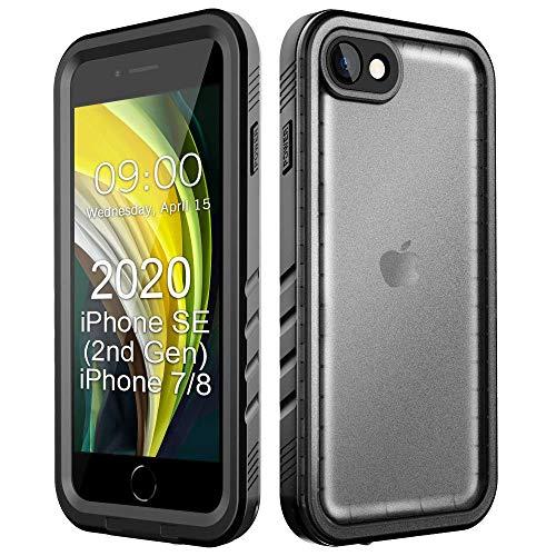 Cozycase Custodia Impermeabile per iPhone SE 2020/iPhone 8/iPhone 7, Cover Subacquea IP68 certificata Protezione Completa per Il Corpo per iPhone SE 2nd Gen (4,7') 2019 - Neroo