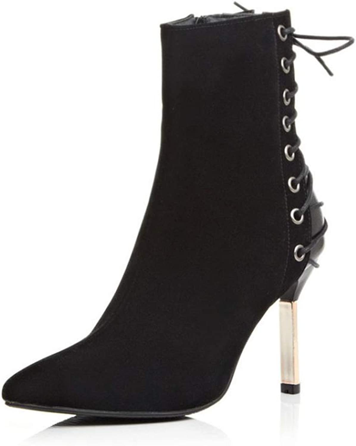 Women's Booties, New Scrub Lace-up Stiletto Heel Ankle Boots Ladies Fashion Comfortable Martin Boots (color   B, Size   43)