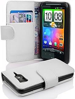 Fodral kompatibelt med HTC Desire HD i MAGNESIUM VIT - Skyddsfodral av strukturerat syntetiskt Läder med Stativfunktion oc...