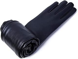 SGJFZD Women's Faux Leather Long Gloves Long Belt Long Design Fashion Gloves Women Windbreak Gloves (Color : Black, Size : M)