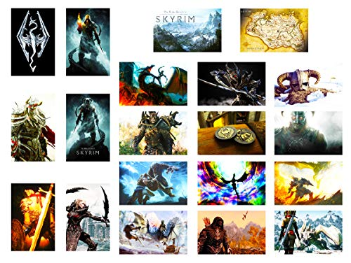 GTOTd Stickers for The Elder Scrolls:Skyrim 20-Pcs, Sticker Decals of Vinyls for Laptop, Water Bottle, Window Gift, Teens, Cars, Collection, Skate Board etc.
