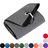 Mile High Life Tri-fold Golf Towel | Premium Microfiber Fabric | Waffle Pattern | Heavy Duty Carabiner Clip (Dark Gray/Black)