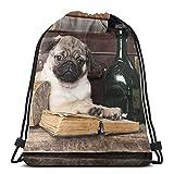 Bingyingne Lindo perro Pug con libros antiguos Botellas de licor Mochila con cordón Saco de gimnasio Bolsa de cincha Bolsa de cuerda