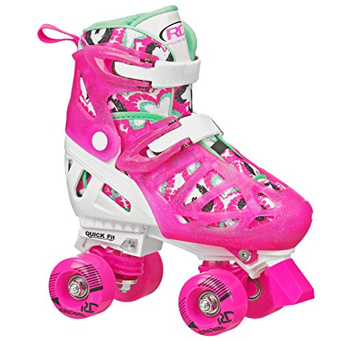 Trac Star Youth Girl's Adjustable Roller Skate White/Pink Size Medium (12-2)