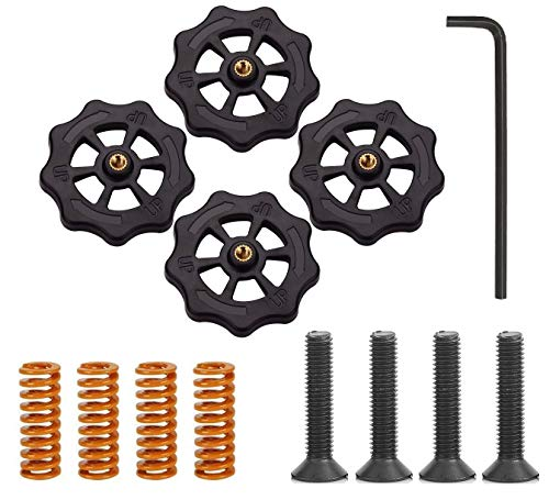 Hyber&Cara 3D Printer Bed Leveling Kit - 4 x Hand Twist Leveling Nuts + 4 x Heated Bed Adjustment Die Springs + 4 x M4 x 40 Screws + 1 x Hex Key for Creality CR-10 10S Ender 3 Hot bed Upgrade