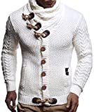 Leif Nelson Giacca Uomo in Maglia Cardigan Collo a Scialle LN-4195 Bianca Large