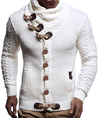 Leif Nelson  Men's Knitted Turtleneck Cardigan - Large - White