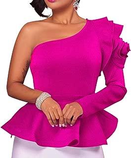 ALILIT Women Peplum Top One Shoulder Plain Lotus Leaf Off Shoulder Long Sleeve Blouse Loose Shirts Tops S-XL