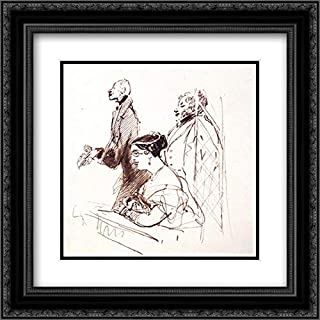 General Phipps, Mrs.Norton and 2Nd Baron Alvanley at The Theatre 20x20 Black Ornate Frame and Double Matted Museum Art Print by Edwin Henry Landseer