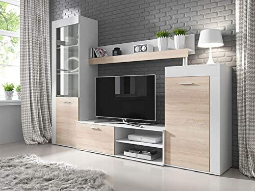 KRYSPOL Wohnwand Rita TV-Lowboard, Hochvitrine, Kommode, Wandregal, Wohnzimmer-Set, Modern Design