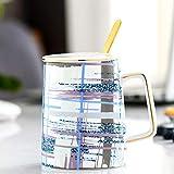 CJHYY Taza de cerámica nórdica Rosa, Taza de café con Tapa, Cuchara, Caja de Regalo, Taza Creativa, Taza de Agua Simple, Juego de Tazas de café etíope