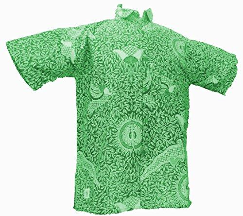 One World is Enough Classique Vert Chemise Imprimée Batik Tropical - 100% Coton - Commerce Équitable - Vert, Large